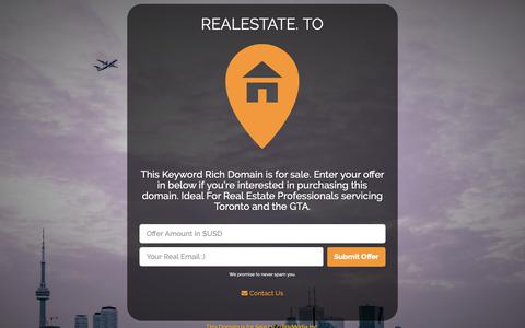 Screenshot of Home Page realestate.to - RealEstate Toronto  - For Sale - captured Oct. 19, 2018
