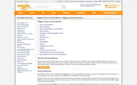 Screenshot of Terms Page wiggle.com.au - Wiggle Customer Services - captured Oct. 31, 2014