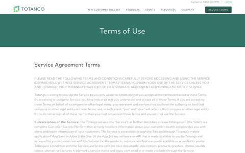 Screenshot of Terms Page totango.com - Terms of Use | Totango | Customer Success Software - captured Jan. 7, 2018