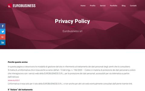 Screenshot of Privacy Page eurob.it - Privacy Policy - Web agency Milano, Monza, Brianza - Eurobusiness srl - captured March 11, 2018