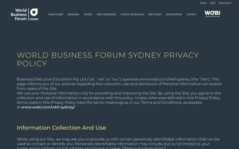 Screenshot of Privacy Page wobi.com - World Business Forum Sydney 2019 |   Privacy Policy - captured Oct. 23, 2018