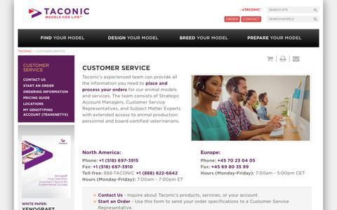 Screenshot of Support Page taconic.com - Customer Service | Taconic Biosciences - captured June 11, 2017