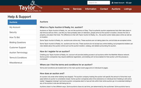 Screenshot of Support Page taylorauction.com - Help & Support | Taylor Auction & Realty, Inc. - captured Oct. 20, 2018