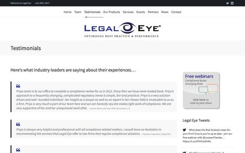 Screenshot of Testimonials Page legal-eye.co.uk - Testimonials | Legal Eye - captured July 30, 2017