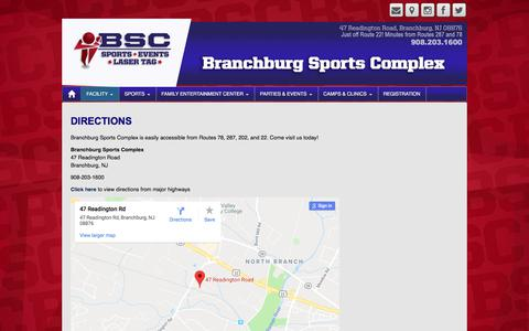 Screenshot of Maps & Directions Page branchburgsportscomplex.com - Directions | Branchburg Sports Complex - captured Aug. 3, 2018