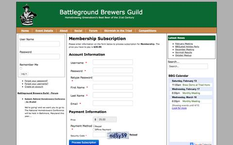 Screenshot of Signup Page battlegroundbrewers.com - Join - captured Feb. 7, 2016