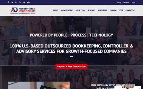Screenshot of Home Page accountingdepartment.com - AccountingDepartment.com | Outsourced Bookkeeping, Controller, Accounting and Advisory Services - captured July 8, 2019