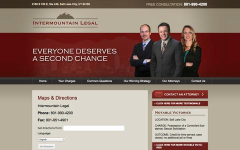 Screenshot of Maps & Directions Page utahdefenseattorney.net - Maps & Directions - Utah Criminal Defense Attorney | Intermountain Legal - captured Oct. 6, 2014