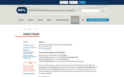 Screenshot of Maps & Directions Page rflelect.com - Directions - captured Oct. 18, 2018