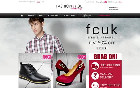 Screenshot of Home Page Login Page fashionandyou.com - Online Shopping India: Latest trends in Fashion Clothing - captured Sept. 16, 2014