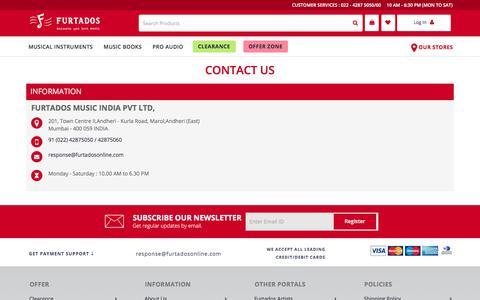 Screenshot of Contact Page furtadosonline.com - Music Instruments Shop Near Me  | Piano, Guitar Stores in Mumbai | Furtados Online - captured Sept. 22, 2018