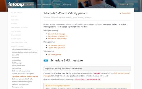 Schedule SMS and Validity period · SMS API | Infobip