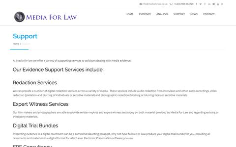 Screenshot of Support Page mediaforlaw.co.uk - Support - Media For Law - captured Feb. 12, 2016