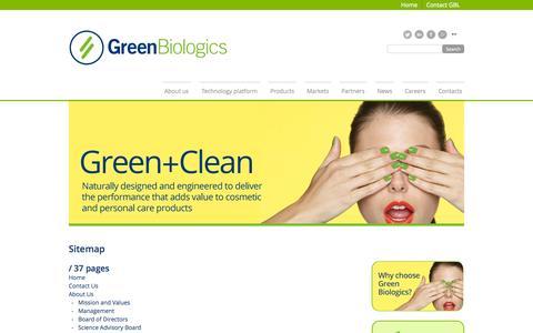 Screenshot of Site Map Page greenbiologics.com - GBL Sitemap - captured Nov. 2, 2014