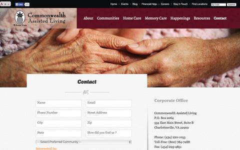 Screenshot of Contact Page commonwealthal.com - Contact > Commonwealth Assisted Living - captured Oct. 2, 2014