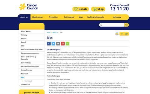 Screenshot of Jobs Page cancer.org.au - Jobs - Cancer Council Australia - captured Sept. 26, 2018