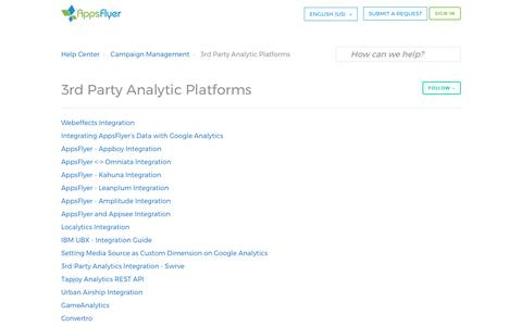 3rd Party Analytic Platforms – Help Center
