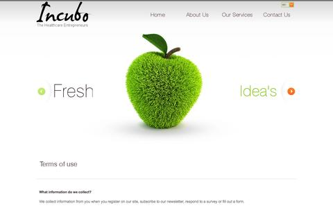 Screenshot of Terms Page incubo.biz - Terms of use - Incubo - captured Oct. 6, 2014