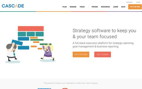 Screenshot of Home Page executestrategy.net - Strategy Software for Planning & Execution - Cascade Strategy - captured Oct. 1, 2018