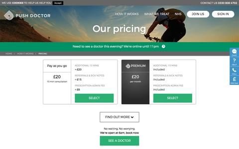 Screenshot of Pricing Page pushdoctor.co.uk - Push Doctor Pricing   Push Doctor - captured Jan. 18, 2018