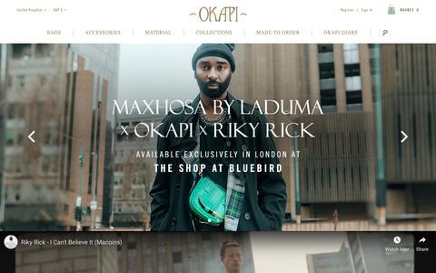 Screenshot of Home Page okapi.com - Luxury handbags and accessories handmade in Africa  | Okapi - captured Nov. 7, 2018