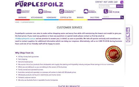 Screenshot of Support Page purplespoilz.com.au - Customer Service – PurpleSpoilz Australia - captured May 24, 2017