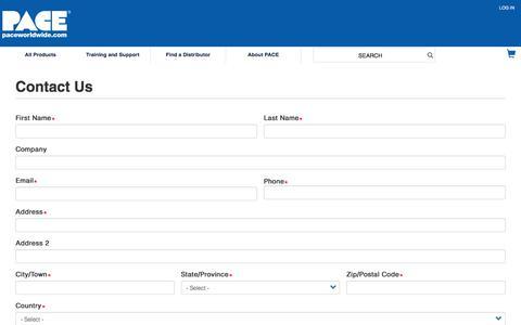Screenshot of Contact Page paceworldwide.com - Contact Us | Pace Worldwide - captured Jan. 8, 2020