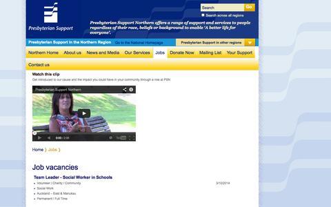 Screenshot of Jobs Page ps.org.nz - Job vacancies | Presbyterian Support Northern - captured Oct. 3, 2014