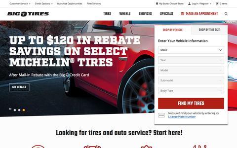 Screenshot of Home Page bigotires.com - Shop Tires, Auto Services, and Wheels Online | Big O Tires - captured Feb. 19, 2020