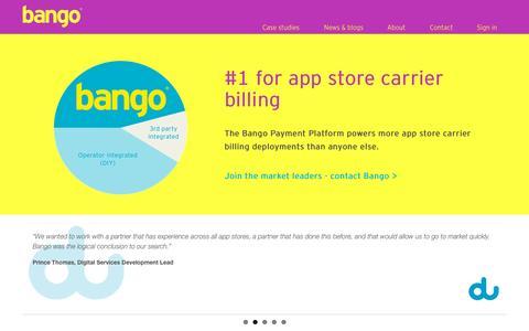 Screenshot of Home Page bango.com - Bango carrier billing platform   Bango - captured Oct. 2, 2015