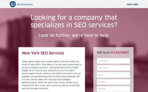 Screenshot of Landing Page 6smarketing.com - New York SEO Services - 6S Marketing - captured Oct. 27, 2014