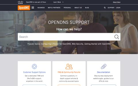 Screenshot of Support Page opendns.com - OpenDNS Support - captured Nov. 23, 2015
