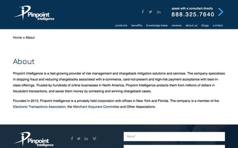 Screenshot of About Page pinpointintel.com - about - Pinpoint Intelligence - captured Aug. 2, 2017