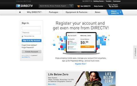 Screenshot of Login Page directv.com - Sign In - DIRECTV - captured Oct. 29, 2014