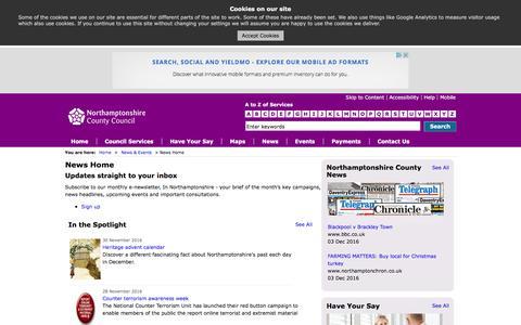 Screenshot of Signup Page northamptonshire.gov.uk - News Home  - Northamptonshire County Council - captured Dec. 3, 2016