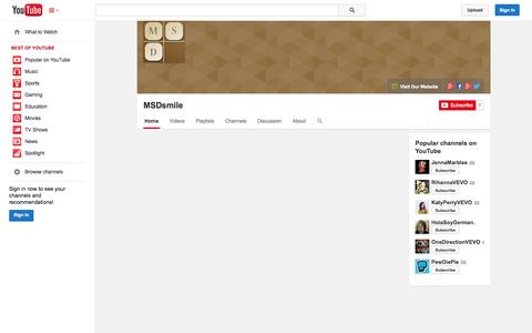 Screenshot of YouTube Page youtube.com - MSDsmile  - YouTube - captured Nov. 3, 2014