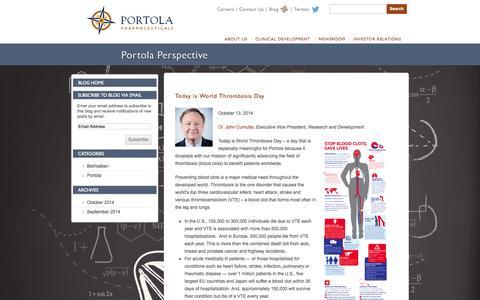 Screenshot of Blog portola.com - Blog - Portola Pharmaceuticals, Inc. - captured Nov. 2, 2014