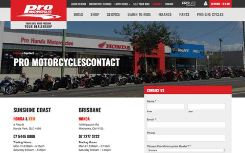 Screenshot of Contact Page promotorcycles.com.au - Contact - Pro Motorcycles - captured Sept. 20, 2018
