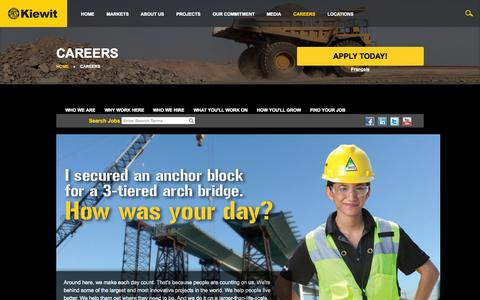 Screenshot of Jobs Page kiewit.com - Kiewit : Careers - captured Oct. 30, 2015