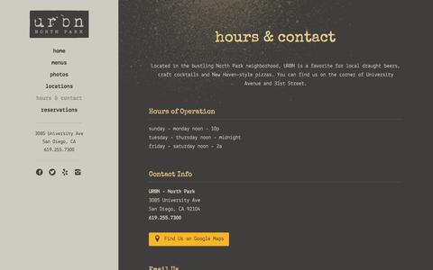 Screenshot of Hours Page urbnnorthpark.com - San Diego, CA Restaurant | hours & contact | Urbn Coal Fired Pizza & B - captured Nov. 19, 2016