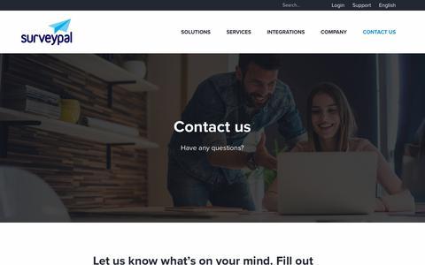 Screenshot of Contact Page surveypal.com - Contact us | Surveypal Experience Management Platform - captured July 6, 2019