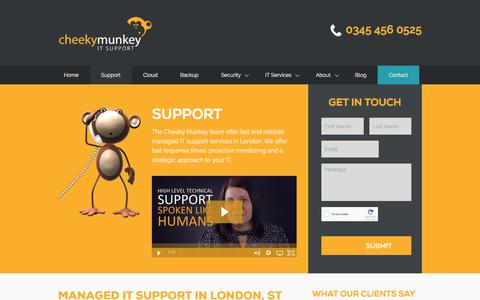 Screenshot of Support Page cheekymunkey.co.uk - Managed IT Support in London, St Albans & Herts | Cheeky Munkey - captured June 24, 2017