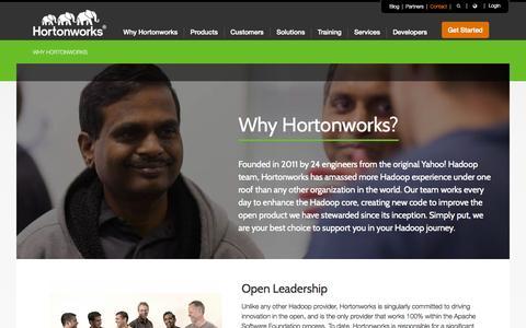 Screenshot of Services Page hortonworks.com - Open Enterprise Hadoop from Hortonworks - captured Oct. 1, 2015