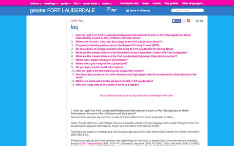 Screenshot of FAQ Page sunny.org - Fort Lauderdale Hotels, Beaches, Restaurants, Events | Florida Vacation Information - captured Sept. 19, 2014