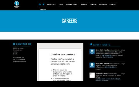 Screenshot of Jobs Page blueantmedia.ca - Careers | Blue Ant Media - captured July 20, 2014