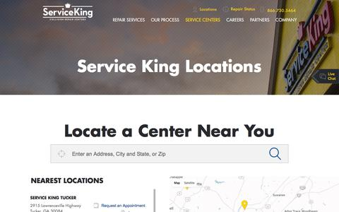 Screenshot of Locations Page serviceking.com - Service King Locations | Service King - captured Nov. 17, 2016