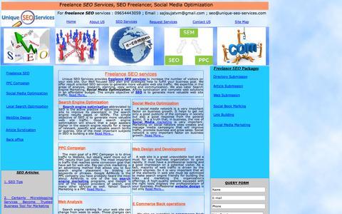 Screenshot of Home Page unique-seo-services.com - SEO services | Freelance SEO | Social Media optimization | SEO - captured Oct. 9, 2014