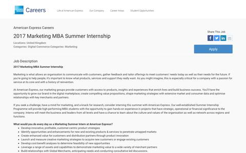 Screenshot of Jobs Page americanexpress.com - Apply For American Express 2017 Marketing MBA Summer Internship job - Digital Commerce, Marketing - United Kingdom - captured Dec. 12, 2016