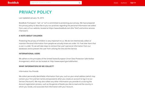 Screenshot of Privacy Page bookbub.com - Privacy Policy - BookBub - captured July 17, 2016