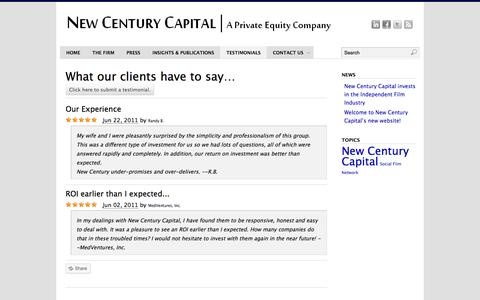 Screenshot of Testimonials Page newcenturycapital.com - Testimonials | New Century Capital - captured Oct. 27, 2014